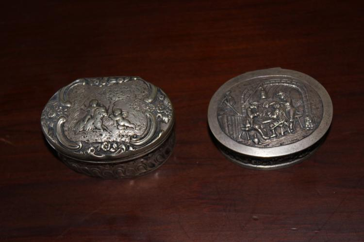 Pair of 19th C Sterling Silver Repousse Snuff Boxes