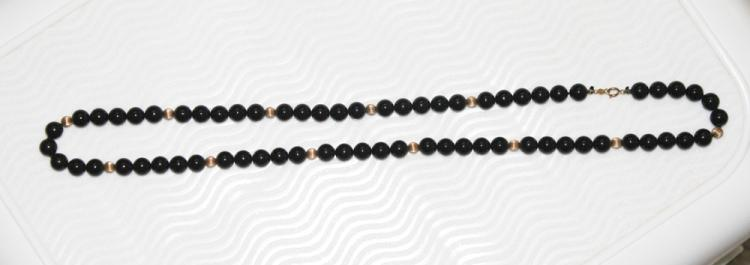 14K Gold and Onyx Necklace