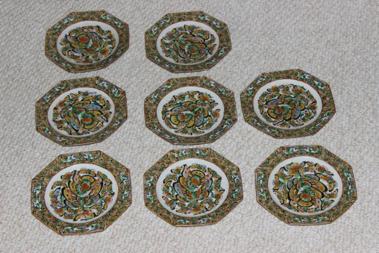 Set of 8 Chinese Rose Medallion Octagon Stacking Plates