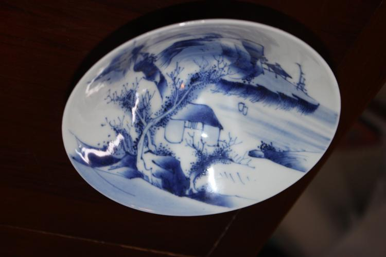 Antique Chinese / Japanese Blue and White Eggshell Bowl