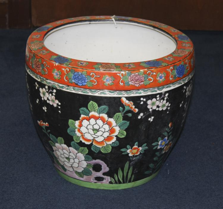 Japanese Famille Noire Style Fish Bowl