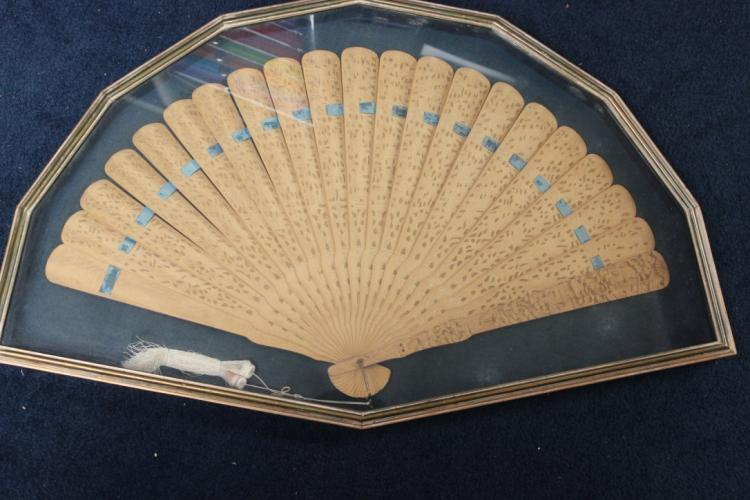 Very Rare Chinese Camphor Wood Export Fan