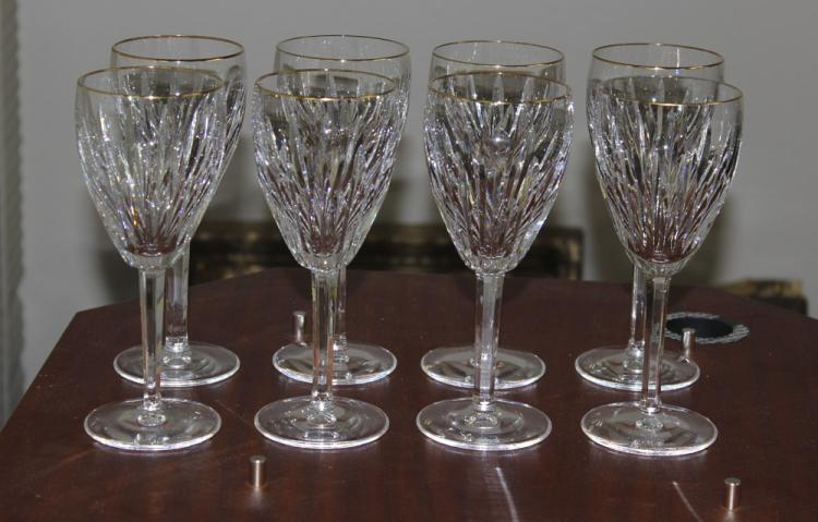 Set of 8 Waterford Carina Gold Rim Red Wine Goblets