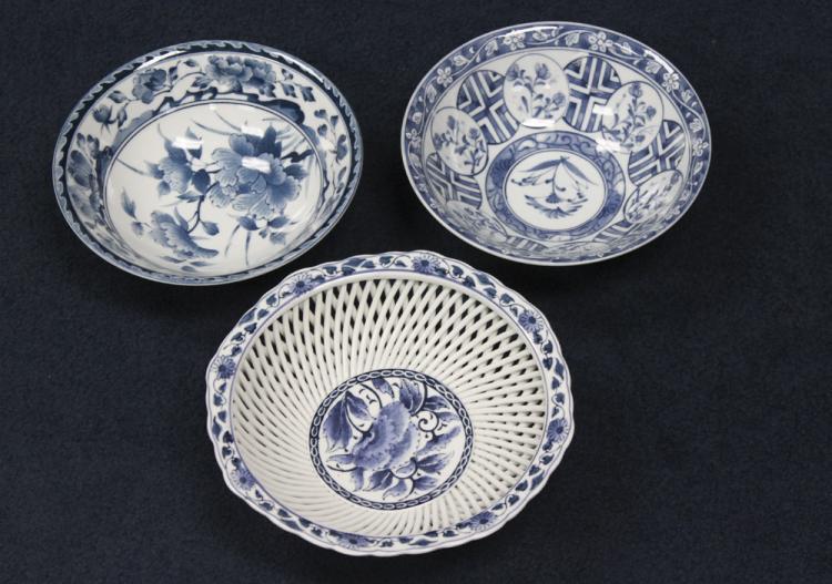 3 Japanese Vintage Blue and White Arita Bowl