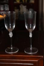 Two Lalique France Roxanne Nude Wine Flutes