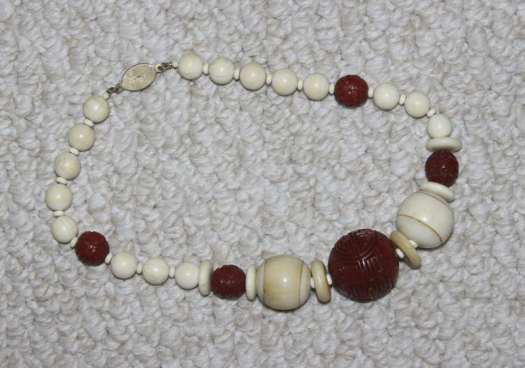 Antique Chinese Cinnabar and Bone Necklace
