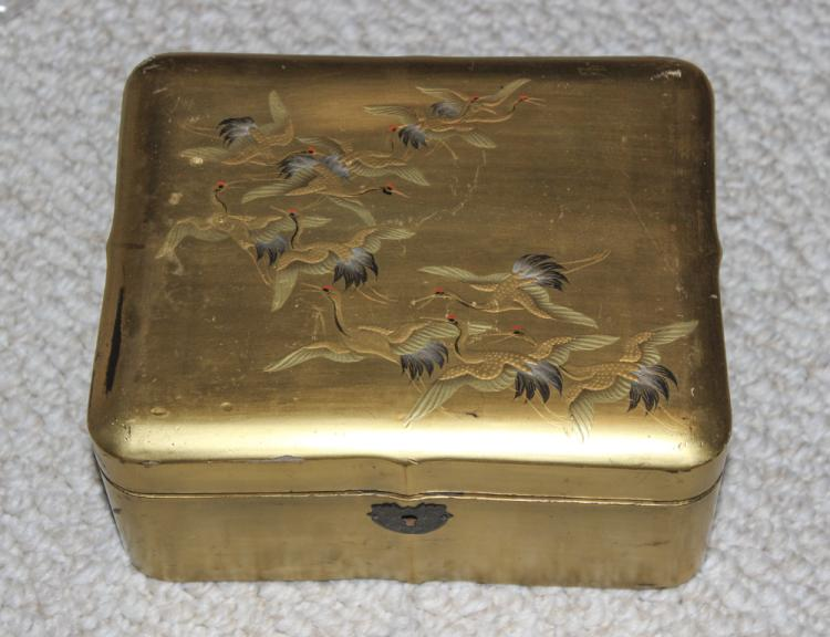 Meiji Period Japanese Gold Gilt Lacquer Box
