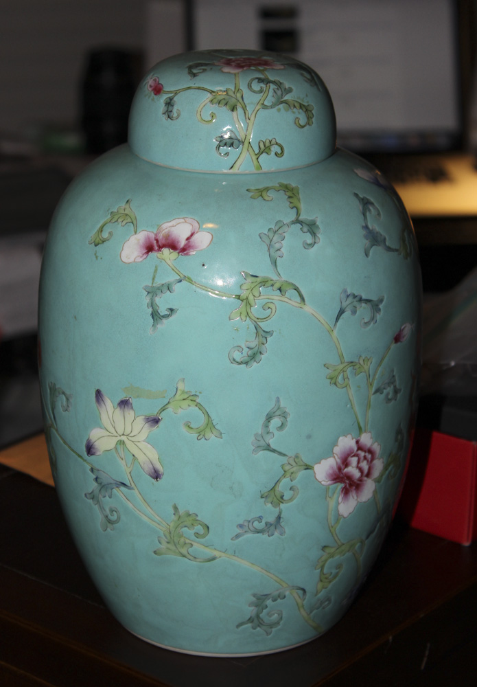 Antique Chinese Floral Turquoise Ginger Jar