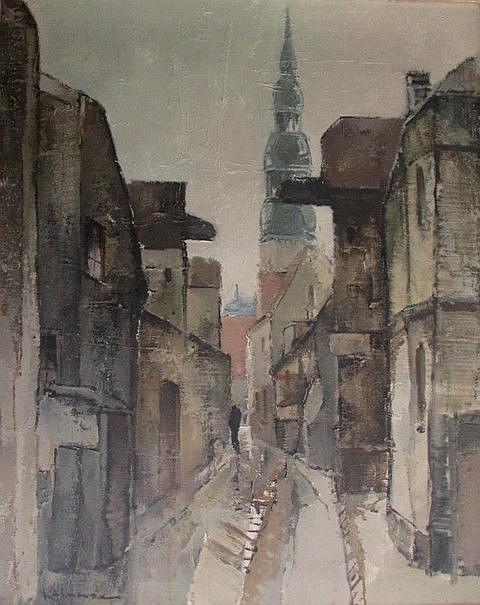 Valdis Kalnroze (1894-1993) - Old Riga's street