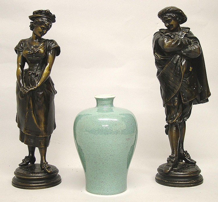 Good pair of late 19th century patinated bronze