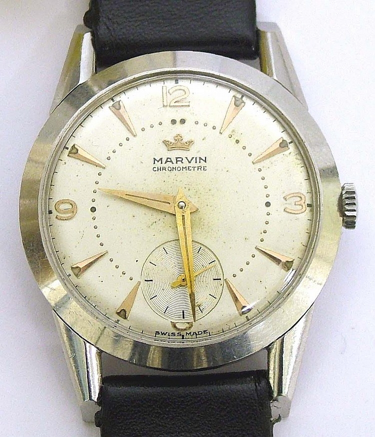 Marvin Chronometre 1940's stainless steel