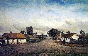 By Albert Hartland - peasant couple on a road through a village with thatched houses, signed and dated 1876, 19in x 30in