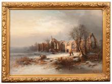 Franz Emile Krause (German 1836-1900) winter landscape.