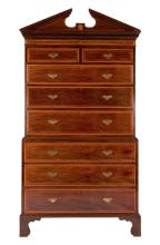 Edwards & Roberts Mahogany and Satinwood Banded Chest on Chest