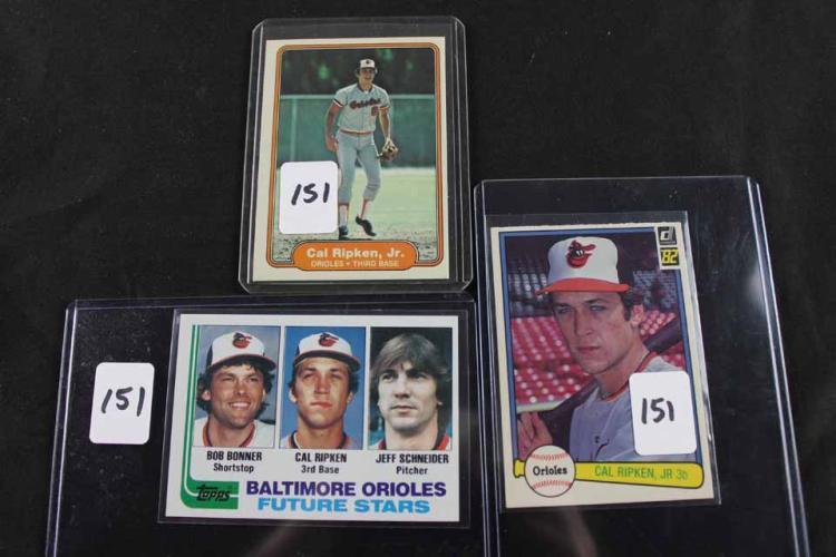 3 baseball cards: