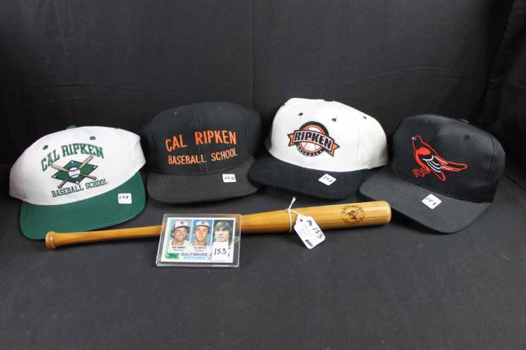 Baseball card, caps, bat: