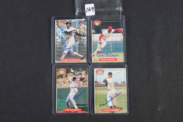 4 Autographed baseball cards: