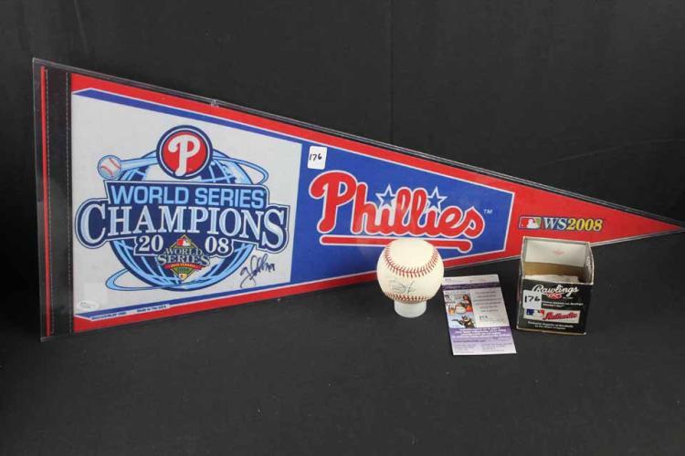 Autographed baseball/pennant: