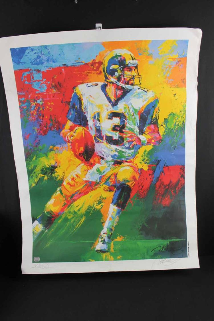 Autographed football lithograph: