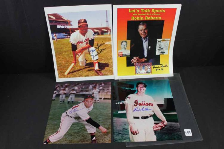 4 Autographed baseball photos: