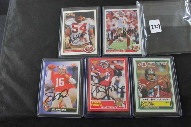 5 autographed football cards: