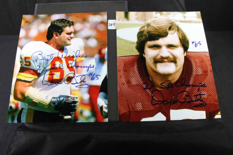 2 autographed football photos: