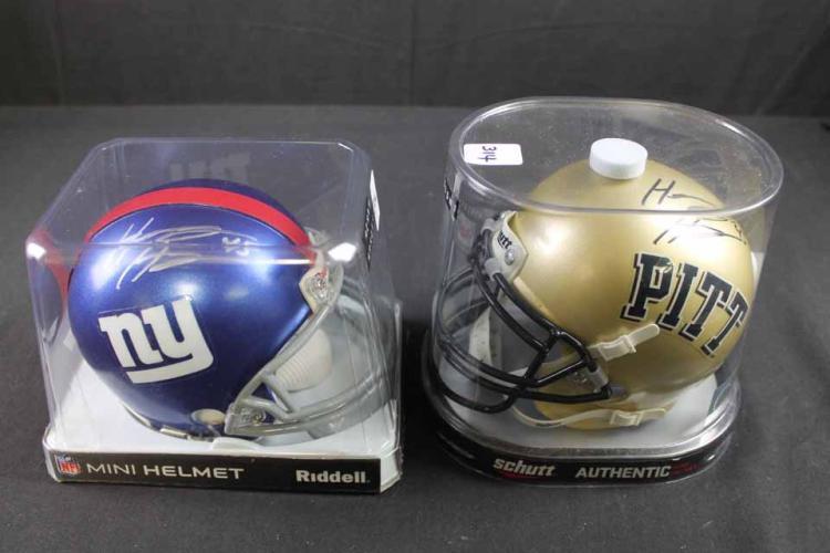 2 autographed football mini helmets: