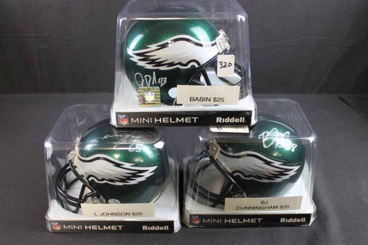 3  autographed football mini helmets:
