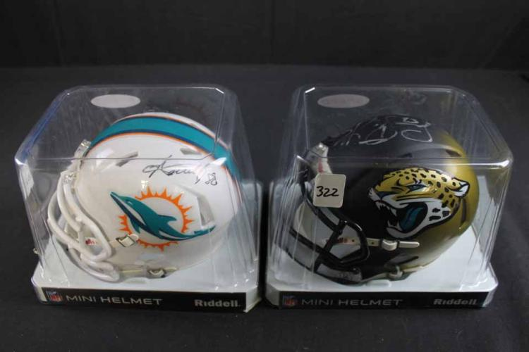 2 autographed football mini helmets: