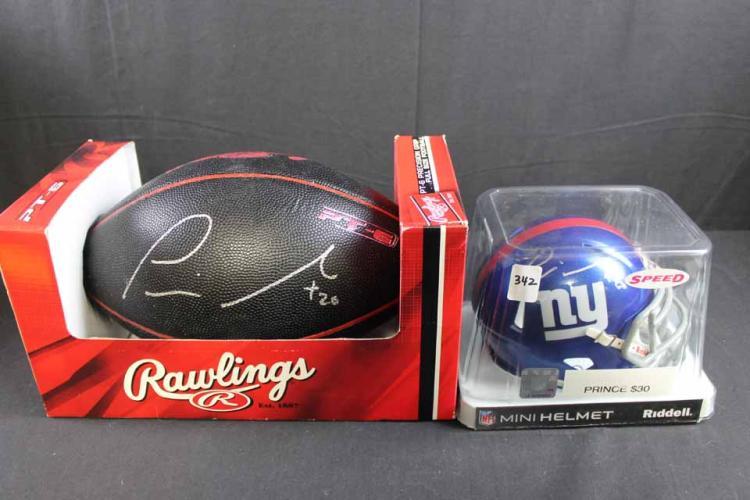 Autographed football/mini helmet: