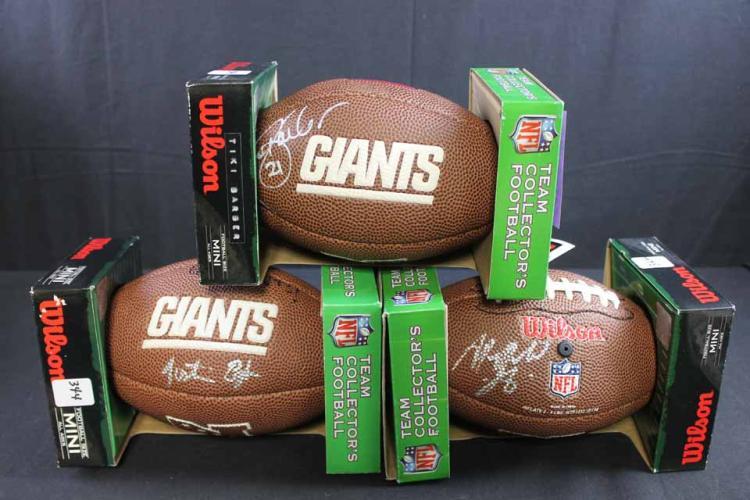 3 autographed footballs: