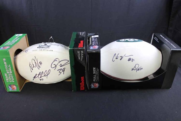 2 autographed NY Jets footballs: