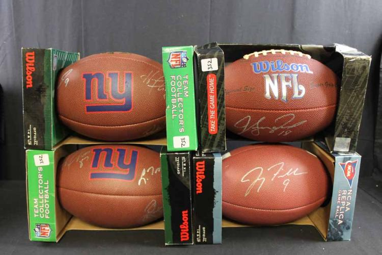 4 autographed footballs: