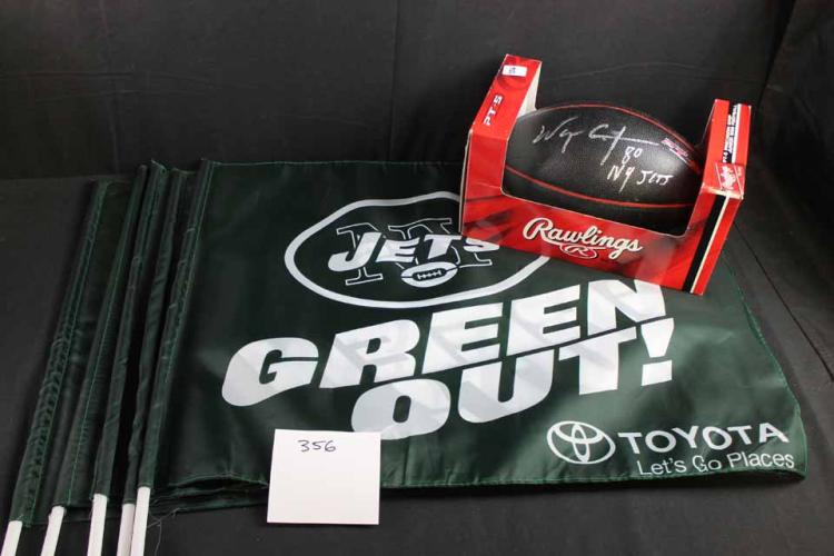 Autographed football and flags: