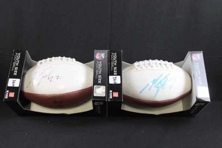 2 autographed footballs: