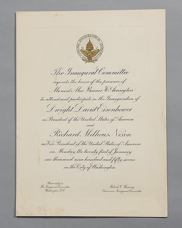 President Eisenhower Inauguration invitation