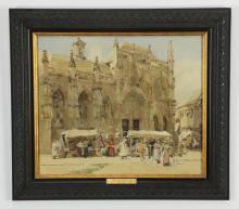 19th c. W/c,  Hector Caffieri 'Market Scene'