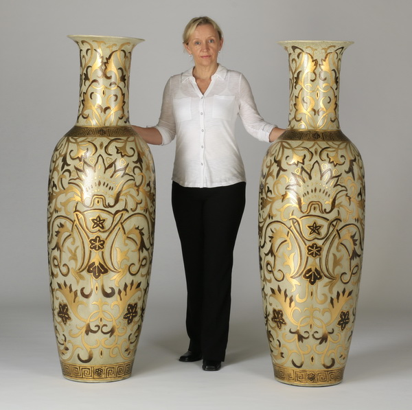 2 Oversized Asian Inspired Floor Vases 62 Quot