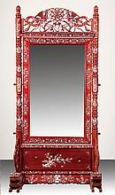 Chinese mahogany and mother-of-pearl mirror