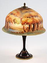 Moe Bridges, American reverse painted lamp