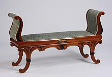 Neoclassical inspired carved mahogany bench