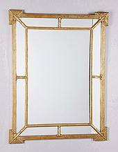 20th c. mirror with carved gilt wood frame