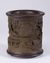 19th c. Chinese bamboo brush pot