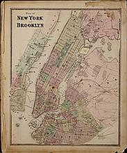 (4) Mid 19th c. hand colored maps of New York