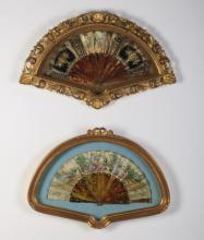 (2) 19th c. hand painted fans in shadowboxes