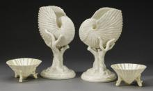 4-Pieces shell-form Royal Worcester and Belleek