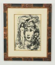 (2) Chagall 'White Clown' lithograph w/print
