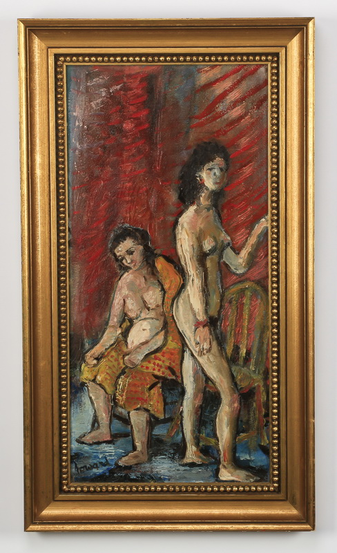 20th c. American O/b of two nudes, signed.