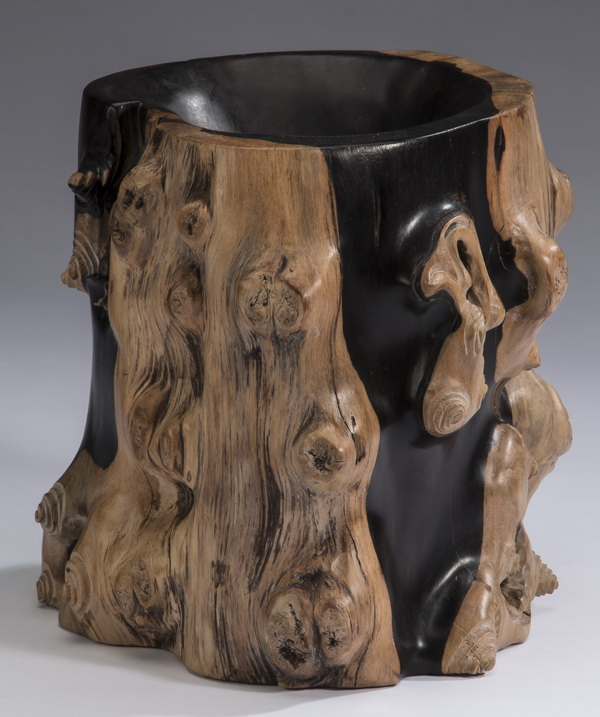 Chinese figural 'tree trunk'  brush pot, 8
