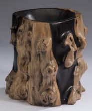 Chinese figural 'tree trunk'  brush pot, 8